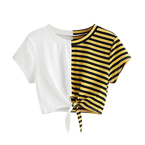 VRTUR Damen Gestreift Crop Top Kurzarm Streifen Shirt T-Shirt Sommer Bauchfrei V-Ausschnitt Stickerei Kurzarm Crop Tops Oberteile Bluse(Small,Weiß)