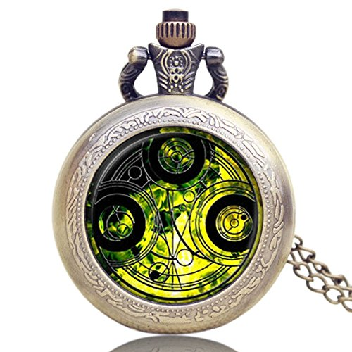 Dr. Who Quarz-Taschenuhr für Herren/Jungen in einem Retro-/Vintage-Gehäuse mit Bronze-Effekt, Savonnette, an einer 80cm Kette (32 Zoll), auch als Halskette verwendbar