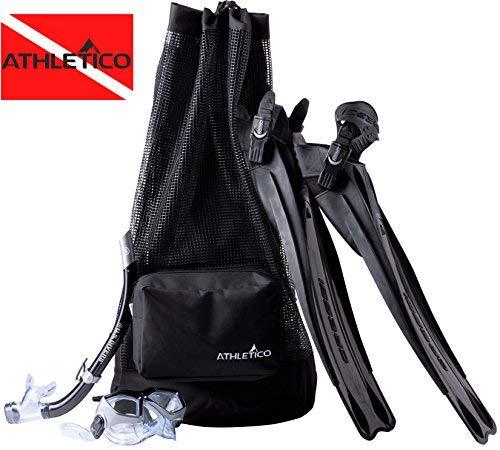 Athletico Tauchtasche - XL Netz-Reiserucksack für Tauchen und Schnorchelausrüstung - Trockentasche hält Maske, Flossen, Schnorchel und mehr (schwarz)