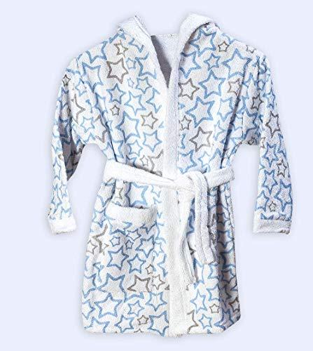 Ti TIN Baby Bademantel für Jungen oder Mädchen aus 100% Baumwolle, mit Sternendruck für Babys von 5 bis 6 Jahr, 105 bis 116 cm