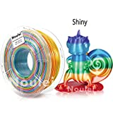 Noulei PLA Filament pour imprimante 3D Splendid Rainbow Multicolor, Silky Shiny 3D Printing Filament 1.75mm, 1kg