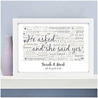 Personalised Engagement Gifts for Couples Engagement Engaged Couple Presents Keepsake - A5, A4, A3 Prints and Frames - 18mm Wooden Blocks - FREE Personalisation