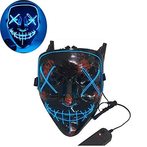 (leegicst Halloween Maske LED ,LED Halloween MaskeLight EL Wire Cosplay Maske Purge Mask Leuchtet im Dunkeln für Festival Cosplay Halloween und Christmas Party Kostüm (Blu))