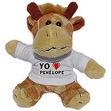 Jirafa de peluche (llavero) con Amo Penélope en la camiseta (nombre de pila/apellido/apodo)