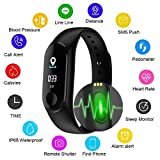 Msxx Fitness Bracelet, Color Screen Smart Wristband, Dynamic Heart Rate/Blood Pressure Detection/Blood Oxygen Monitoring/Sleep Monitoring/Pedometer/Bluetooth Link, Für iPhone Und Android,Black