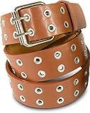 SCAMODA Doppelloch Nietengürtel mit echtem Leder für Damen und Herren, Breite ca. 3,5 cm (Hellbraun)