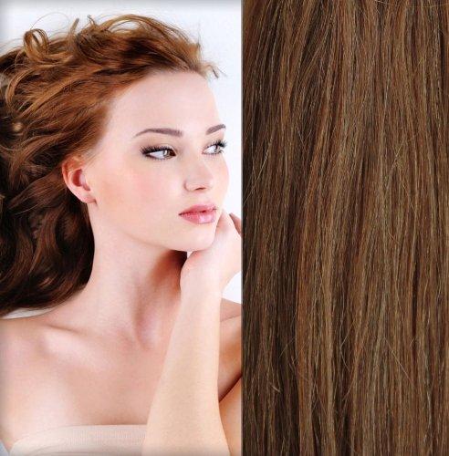 GOGODIVA Clip in Hair Extensions 100% Human Remy Hair #30 Light Auburn colour 24 inches Length 130 grams hair weight
