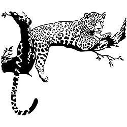Dosige 1 Pcs Etiqueta engomada del árbol del leopardo negro Dormitorio Paredes de la sala de estar Pegatinas de pared Decoración del hogar Pegatinas De Pared Cocina Imanes de nevera Negro 60*90cm