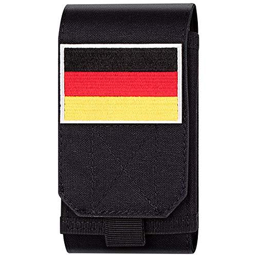 Xidan Taktische MOLLE Tasche, Große Schwerlast Molle Loop Gürteltasche Handy Flag Patch für iPhone XSmax/XR/XS/X/8P/8/7, Samsung Note9/8/5, Galaxy S9+/S9/S8+/S8/S7 und andere - Großes Fahrwerk