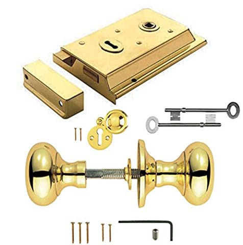 Polished Brass Rim Lock Door Rim Knob Locking Handle Set
