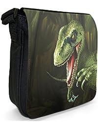 Jurassic Dinosaur Terrible Lizard Small Black Canvas Shoulder Bag - Size  Small 9c3a01b5925b1