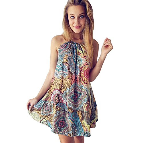 Kleid Damen,Binggong Frauen Sommer Vintage Boho Mini Maxi Abend Party Strand Ärmellos Sling Blumenkleid Lose Party Kleid Elegant Sexy (Sexy Mehrfarbig, S)