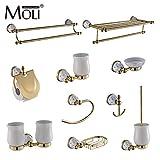 #1: BuyWorld Luxury golden bathroom accessories with diamond, gold finish toilet paper holder towel bar shelf brush holders bath hardware set