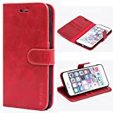 Mulbess Custodia per iPhone 6S Plus, Cover iPhone 6 Plus, Cover iPhone 6S Plus Pelle, Flip Cover a Libro, Custodia Portafoglio per iPhone 6 Plus, Vino Rosso