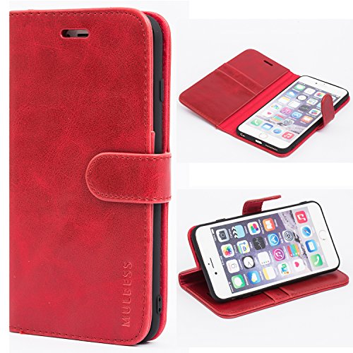 Mulbess Ledertasche im Ständer Book Case / Kartenfach für Apple iPhone 6 / 6S Plus (5,5 Zoll) Tasche Hülle Leder Etui,Wine Rot