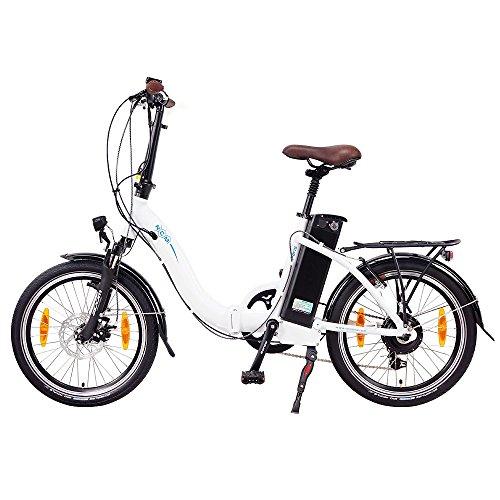 NCM Paris 20 Zoll Elektrofahrrad,E-Faltrad,E-Bike,Pedelec,Klapprad,36V 250W Bafang Motor, 36V Li-Ion Akku mit 14Ah PANASONIC Zellen,weiß,silber,dunkel blau,schwarz (Weiß) -