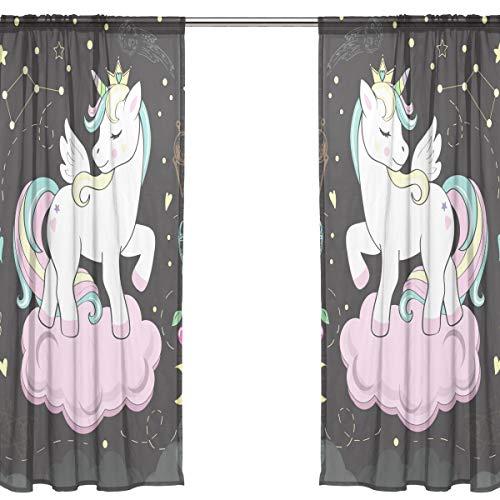 Orediy - Cortinas transparentes de gasa con 2 paneles, diseño de estrellas de unicornio, 40 % de dobladillo, cortina larga para ventana, decoración de dormitorio, 140W x 200 H