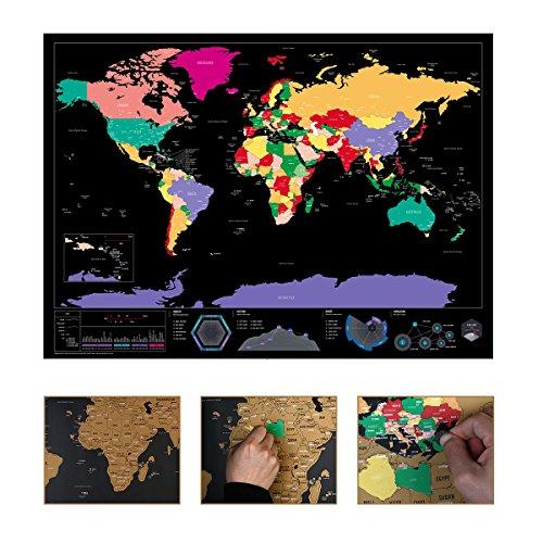 NUOLUX Weltkarte zum Rubbeln Sie All die Länder Frei die Sie Besucht Haben - Interaktive Karte 82,5x59.4CM