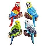 Gardens2you Set mit 4 Wand Deko Figuren Tropische Vögel Wellen Sittich & Papagei - 13cm Hoch