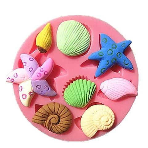 aliciashouse Coquillage étoile de mer mer escargot en silicone 3D Fondant Gâteau Chocolat Décoration Moule Moule à gâteau