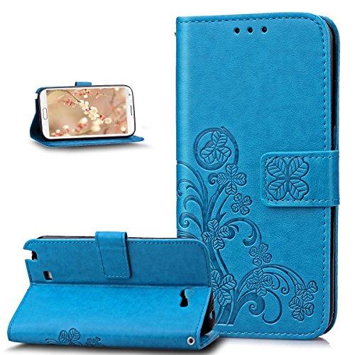 Custodia Galaxy Note 2 Cover,Galaxy Note 2 Cover,ikasus Goffratura Trifoglio Fiore Floreale Modello Flip Cover Portafoglio PU Pelle Protective Wallet Stand Custodia Cover per Galaxy Note 2,Blu