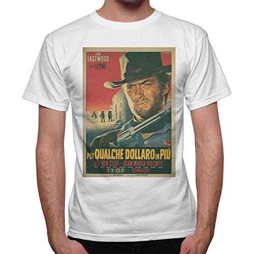 Camiseta Hombre Clint Eastwood Western per qualche dollaro in più-Blanco Bianco Medium
