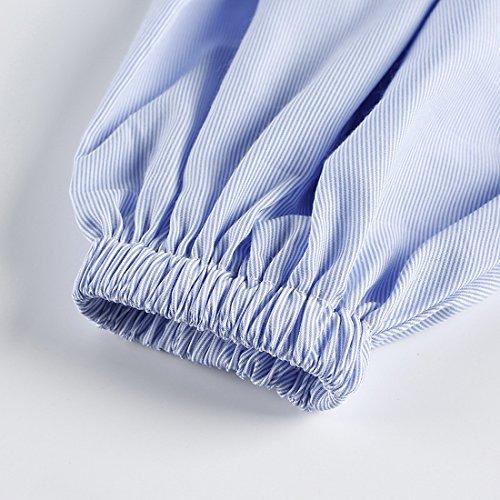 Vertvie Femme Chemisier Rayuré Bateau Cou Sarong Manches Longues Shirt Blouse Tops Épaule Nue Bleu