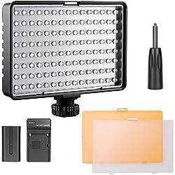 FOSITAN TL-160S 160 LEDs Torche Vidéo 3200K 5500K Studio Photo Vidéo Lampe éclairage Paneau avec Batterie Rechargeable NP-F550 pour Canon Nikon Sony Pentax Panasonic Samsung Olympus