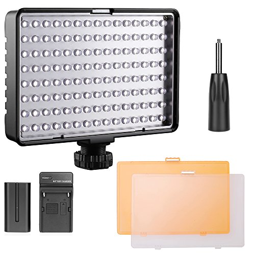 LED Luce Video, FOSITAN TL-160S Dimmerabile 160 LED 11W 960LM 3200K/5500K Luce Fotocamera Videocamera con NP-F550 Batterie a Ricaricabili per Canon Nikon Pentax Sony Panasonic DSLR Video Fotografia