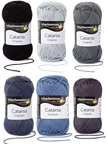 6x50 Gramm Schachenmayr Woll-Set Baumwollgarn Catania zum Stricken und Häkeln inkl. detallierter Anleitung für EIN Meerschweinchen (Grau Mix)