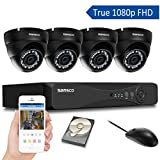 [TRUE 1080p] SANSCO 4 Channel FHD CCTV Camera System with 4 2 Mega-pixel Indoor Outdoor Dome Cameras and 1TB Internal Hard Drive (2MP Live Streaming & Recording/Playback, 1080p Smart DVR, Instant Email Alerts, Day/Night Vision, Vandal-Proof Housing, Mobile App: Xmeye)