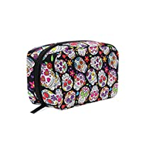 DragonSwordlinsu COOSUN Day Of The Dead Sugar Skull Cosmetic Pouch Clutch Makeup Bag Travel Organizer Case Toiletry Pouch for Women