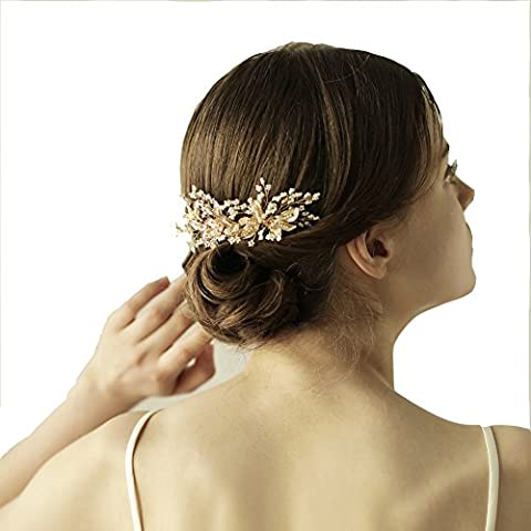 Blattgold Kristall Haar Vine–Rustikal Bridal Pearl Haarband Woodland Hochzeit Krone