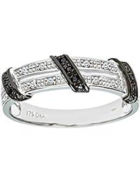 Naava Women's 9 ct White Gold Round Brilliant Cut Black Diamond Twist Ribbon Eternity Ring