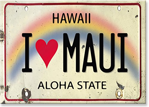 Kühlschrank Magnet mit Hawaiianischem Motiv - I Love Maui License Plate