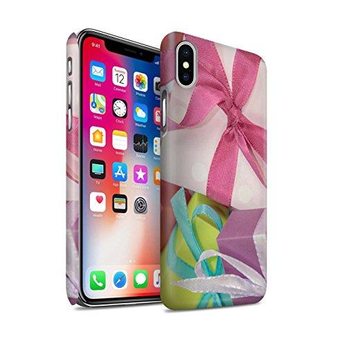 STUFF4 Matte Snap-On Hülle / Case für Apple iPhone X/10 / Baum Dekorationen Muster / Weihnachten Foto Kollektion Rosa Geschenk