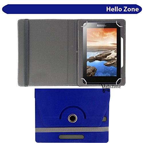 "Hello Zone Exclusive 360° Rotating 7"" Inch Flip Case Cover Book Cover for Datawind UbiSlate 7C+Tablet -Blue"