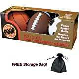 Pro Gold Mini Foam 4 Basketball 6 Football and 4 Soccer Ball, 3-Ball Sport Pack with Free Storage Bag