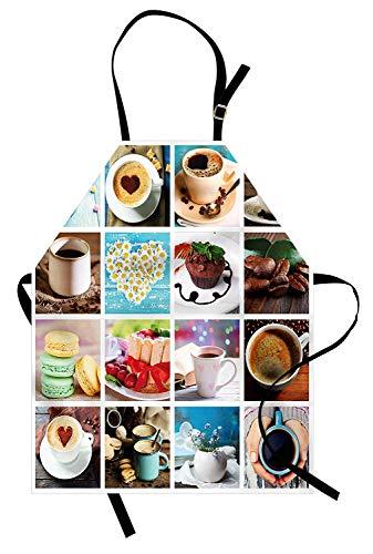 (Kaffee-Schürze, Collage aus verschiedenen Fotos Kaffeetassen Bohnen Kuchen Macarons leckeres Essen und Getränke, Unisex-Küchenschürze mit verstellbarem Hals zum Kochen Backen Gartenarbeit, Multicolor)
