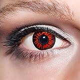 KwikSibs farbige rote Kontaktlinsen Dämonenaugen 1 Paar (= 2 Linsen) weiche Funlinsen inklusive Behälter, K515 (Stärke / Dioptrie: 0 (ohne))