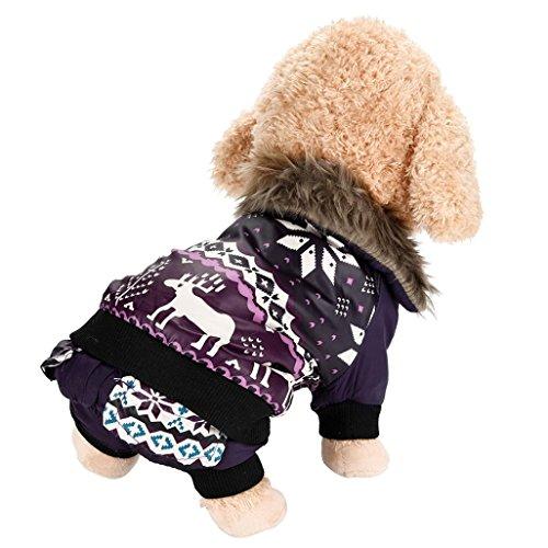 Imagen de ropa para perros, internet perro mascota abrigo de algodón cálido alce de navidad ropa de invierno para cachorros disfraz de mascota purpura, s  alternativa