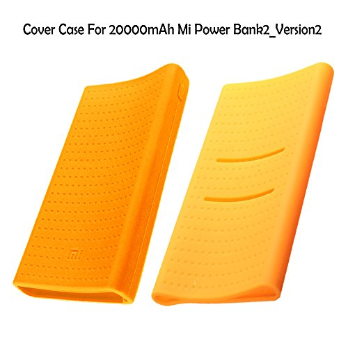 Heartly Soft Silicone Pouch Protector Cover Case For 20000mAh Mi Power Bank 2 (Version 2) - Mobile Orange