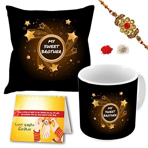 "Aart Store My Sweet Brother 12"" X 12"" Cushion Cover with Filler, Printed Mug, Rakhi, Greeting Card Gift Hamper for Raksha Bandhan Celebration"