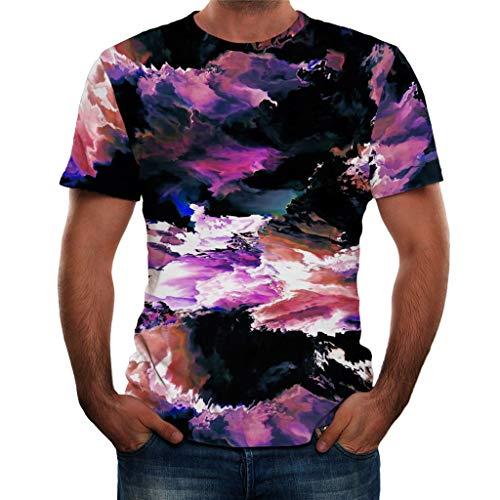 Camicia Stampata in 3D da Uomo Vendita Casual Manica Corta Loose Comfort Tops(Viola,x-Large)