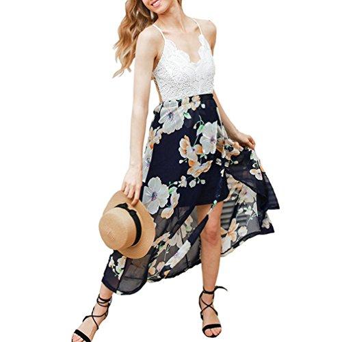 Reasoncool Abito abito in pizzo sexy donna Backless lungo scollo a V vita alta Beach Multicolore
