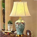 Tischlampe Keramik Nachttischlampe - 55cm Schlafzimmer Nachttischlampe American Wohnzimmer handbemalte Blumen und Vögel blau Kupfer Stoff Lampen