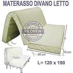 Materasso Divano letto piazza e mezza 120x190 h10 Ecosan Poliuretano