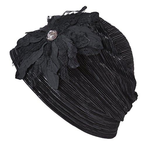 Casualbox Damen Blume Emblem Beanie Hut Mütze gestreift Muster Schwarz