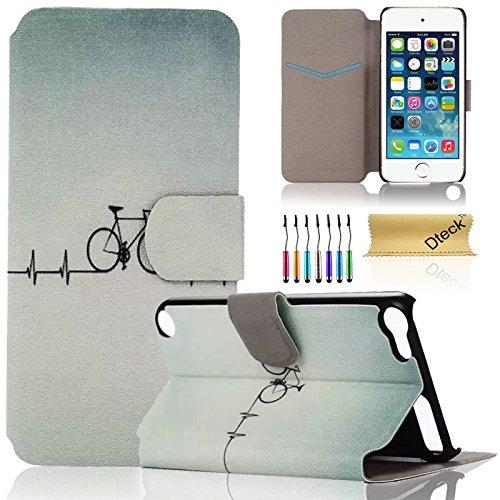 iPod Touch 5/6Fall, dteck (TM) Süßes PU-Leder Ständer Wallet Magnet Case [Karten/Geld Halter] Flip Zusammenklappbar für Apple iPod Touch 5. 6. Gen 10,2cm, 2 Bicycle