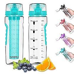 Opard Trinkflasche 900 ml - Wasserflasche mit fruchteinsatz - Auslaufsicher Sportflasche - Water Bottle BPA Frei aus Tritan - Flasche für Kinder,Sport,Fitness,Fußball,Fahrrad,Outdoor (Cyan)